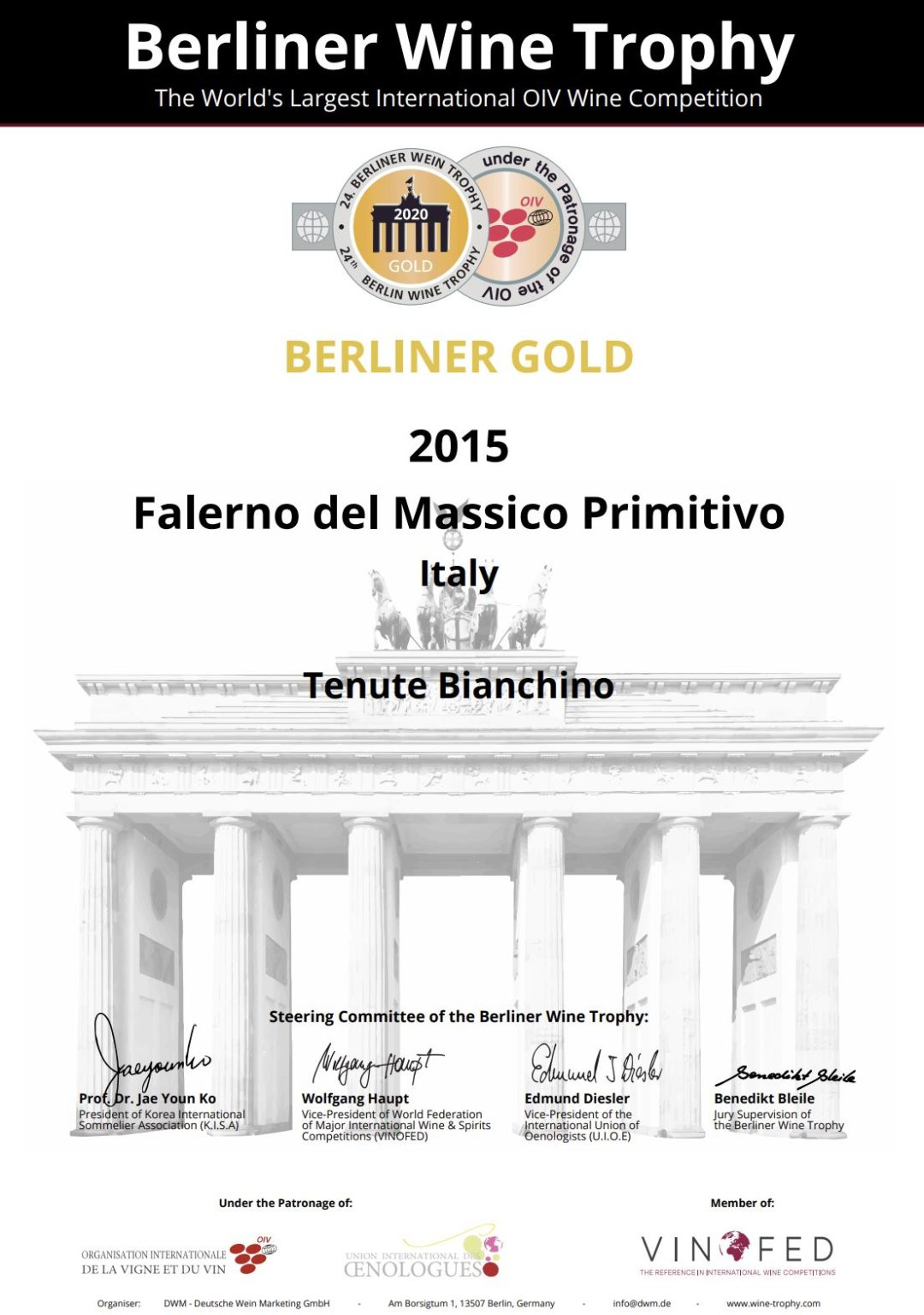 Berliner wine trophy Tenute Bianchino